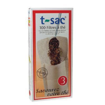T-Sac Tea Filters 100 Pack Unbleached (Size 3 - for 8 cup teapots)