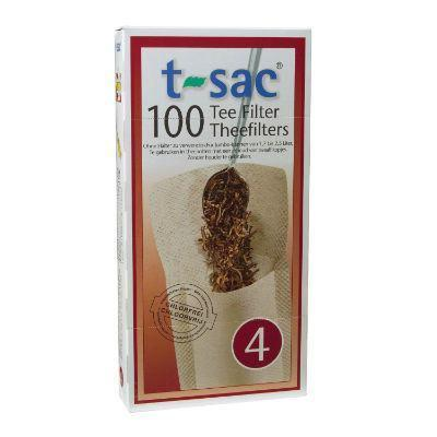 T-Sac Tea Filters 100 Pack Unbleached (Size 4 - for 12 cup teapots)